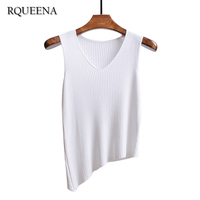 2017 Spring Summer Wear Stripe Knitted Camisole Vest Solid Color V Neck Woman Tank Tops