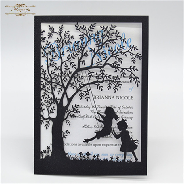 laser cut wedding invitations tree and girls swing pearl freshers party invitation cards