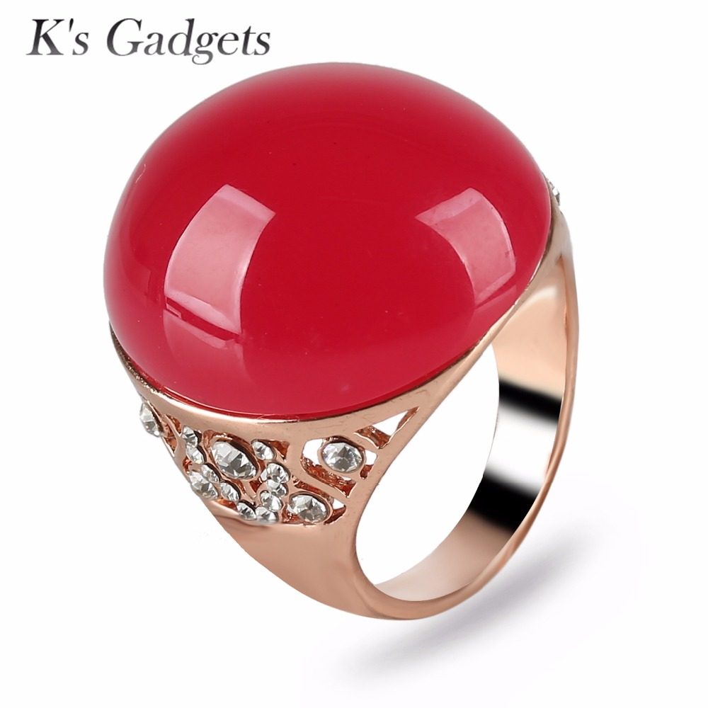 K's Gadgets Retro Silver Rings Ring Boho Ring Anillos Mujer Red Natural Stone Big Rings for Women Anello Bagues Femme