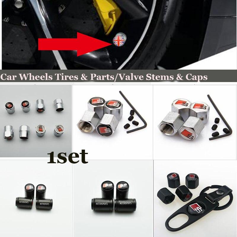 1set car wheel tire valve stem cap For AUDI A1 A2 A3 A4 A5 A6 A7 A8 Q1 Q3 Q5 Q7 Car-styling S logo badge