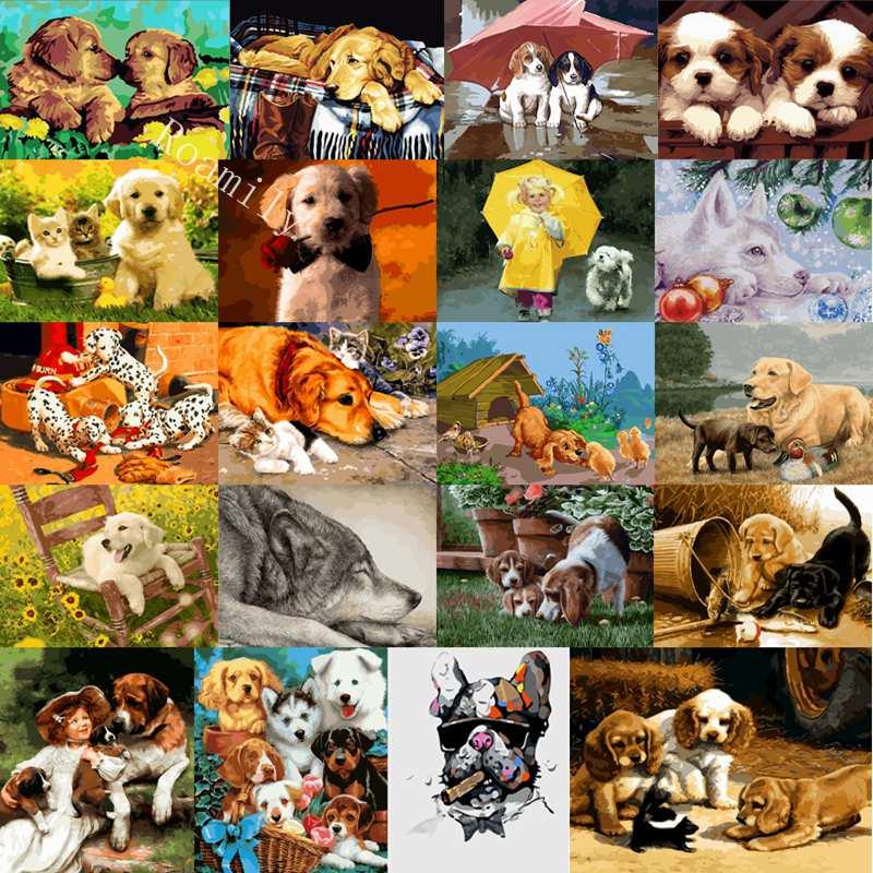 ROAMILY 20 foto's mooie schattige honden serie diy olieverfschilderij - Huisdecoratie