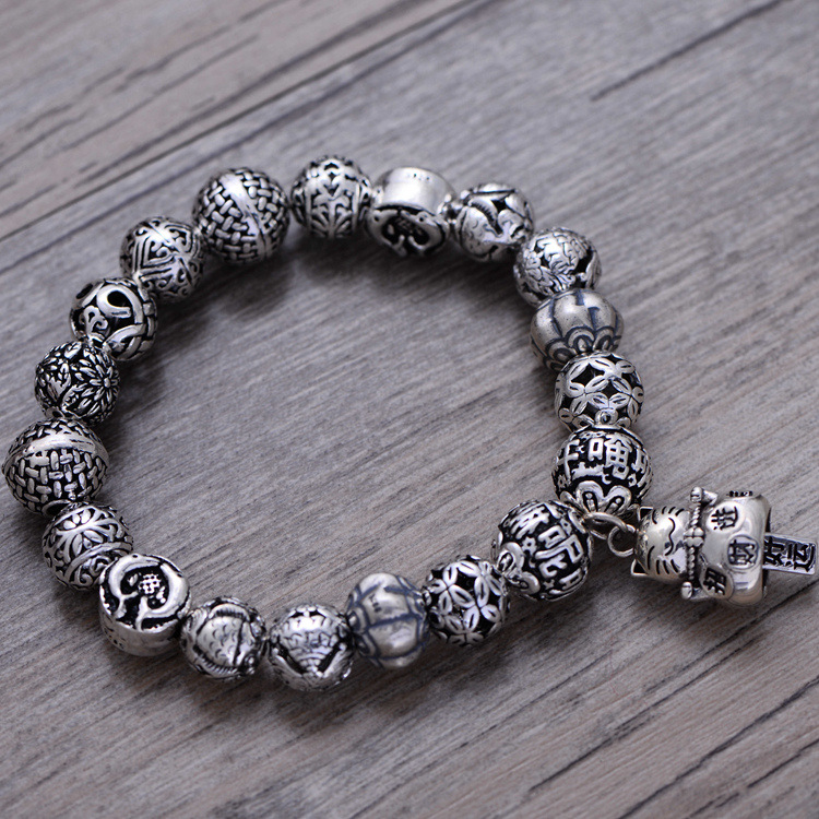 Fashion 925 Sterling Silver Vintage Lucky Cat Ball Bracelet Women Thai Silver Gift Jewelry CH057889 fashion 925 sterling silver vintage handmade sugilite bracelet women thai silver gift jewelry ch052535