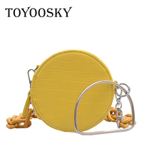 TOYOOSKY women chain round bags circle Crocodile Pattern Leather handbags messenger bag for ladies causal circular shoulder bag