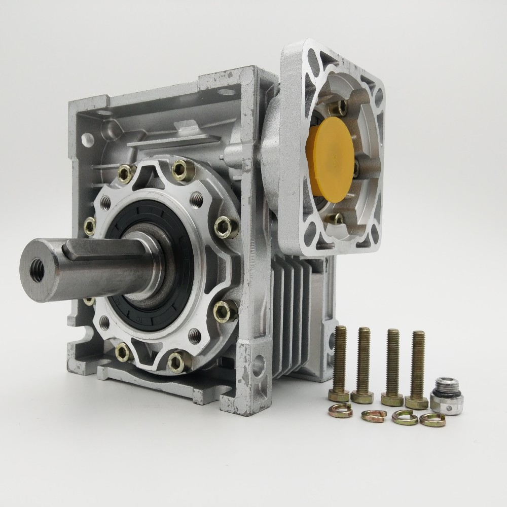 Speed Ratio 20:1 NMRV050 Worm Gearbox 14/19mm Input Shaft 90 Degree RV50 Worm Gear Speed Reducer for NEMA42 Servo/Stepper Motor Speed Ratio 20:1 NMRV050 Worm Gearbox 14/19mm Input Shaft 90 Degree RV50 Worm Gear Speed Reducer for NEMA42 Servo/Stepper Motor