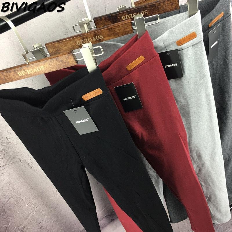 BIVIGAOS New Womens Casual Thicken Nine Pants Leggings Waist Leather Lable Elastic Cotton Leggings Pants Female Women Clothing 5