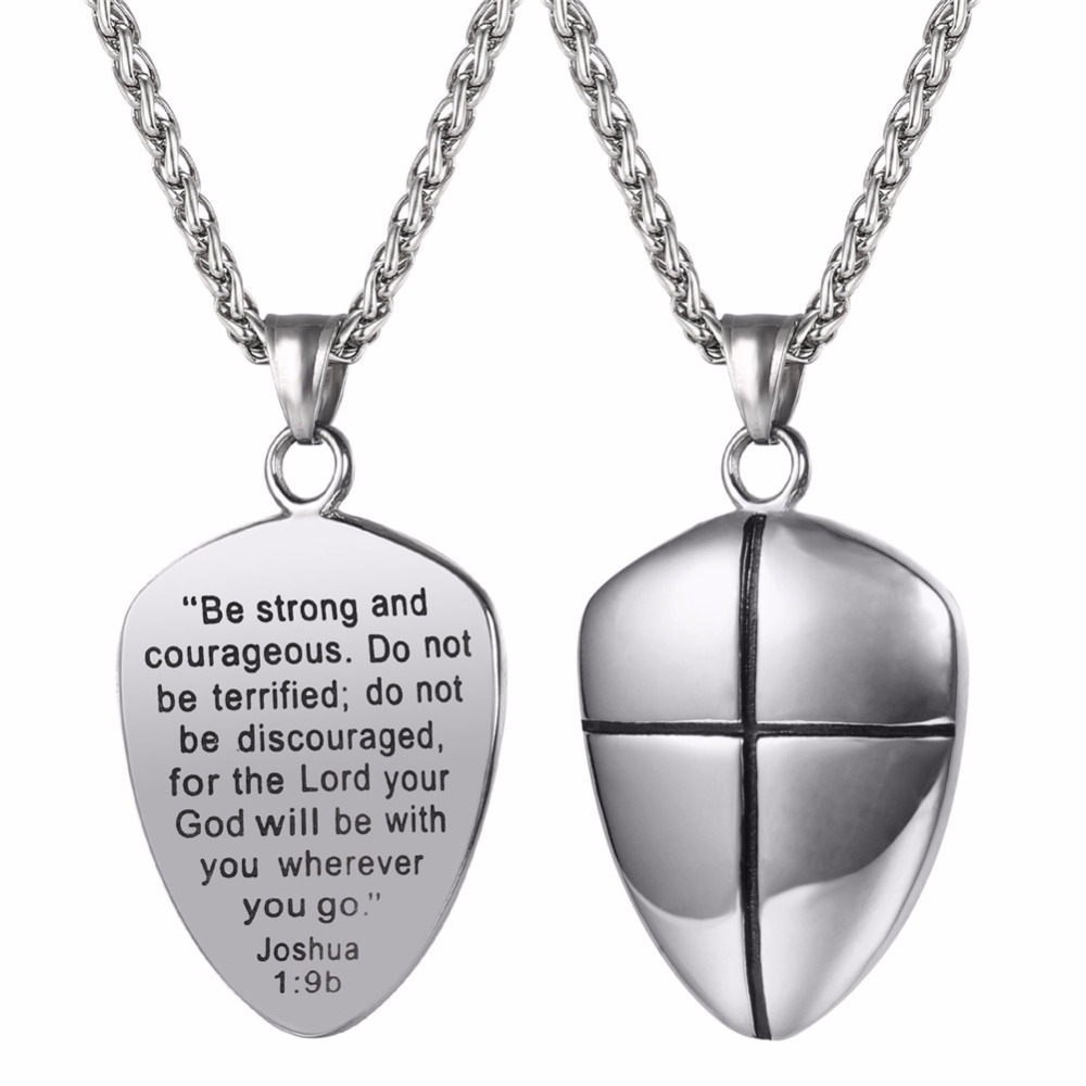 Shield of Faith Pendant Necklace Joshua 1:9b Engraved Shield Stainless Steel Religious Gift Inspirational Jewelry GP2777Shield of Faith Pendant Necklace Joshua 1:9b Engraved Shield Stainless Steel Religious Gift Inspirational Jewelry GP2777