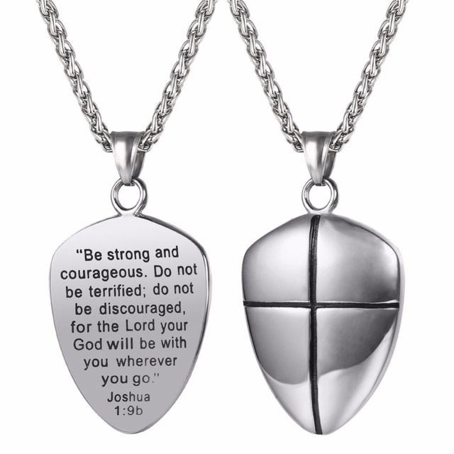 Shield of faith pendant necklace joshua 19b engraved shield shield of faith pendant necklace joshua 19b engraved shield stainless steel religious gift inspirational aloadofball Images
