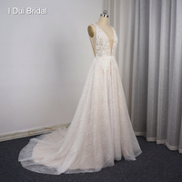 Sexy Wedding Dresses Deep V Front And Back Pearl Crystal Beaded Lace Bridal Gown 2016 New