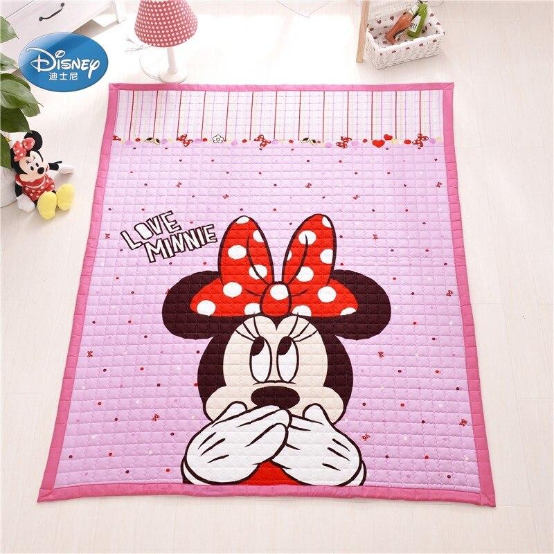 Disney Cartoon rose Minnie Mickey Mouse bébé filles garçons ramper jeu tapis tapis 150X200 CM tapis 100% coton