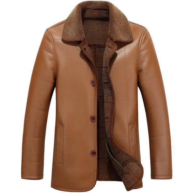 2017 brun hiver chaud Plus de velours Single-breasted veste en cuir hommes  mâle vêtements de fourrure pour hommes en cuir vestes et manteaux 3XL ed7d4a75edf0