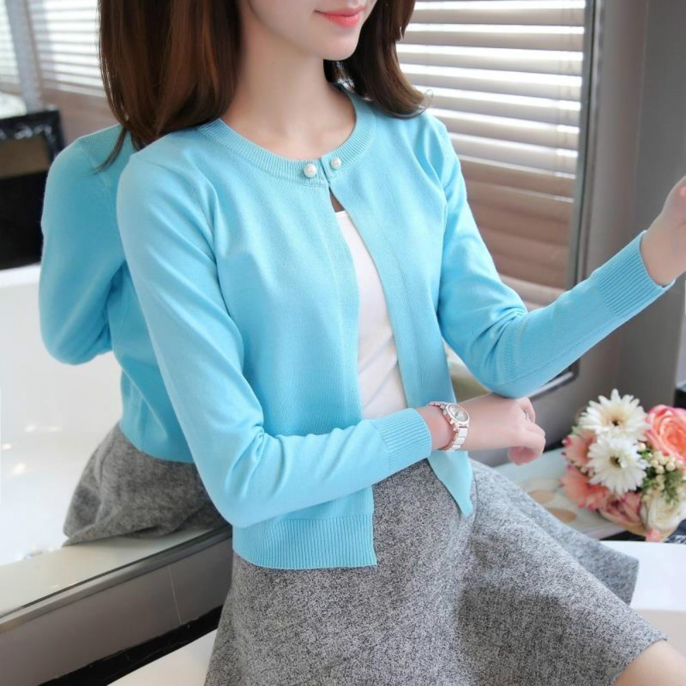 7 colors Ladies Short Cardigan V Neck Long Sleeve Cotton Cropped ...