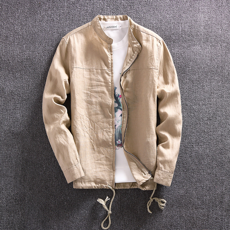 Fall 2020 Breathable Linen Jacket Men's Casual Thin Loose Pure Color Hemp Material Collar Jacket