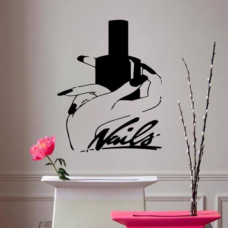Персонализированные пользовательские имя Виниловые стикеры ногтей Стилист узор Съемный Наклейка на стену гостиной салон Настенный декор ... ...