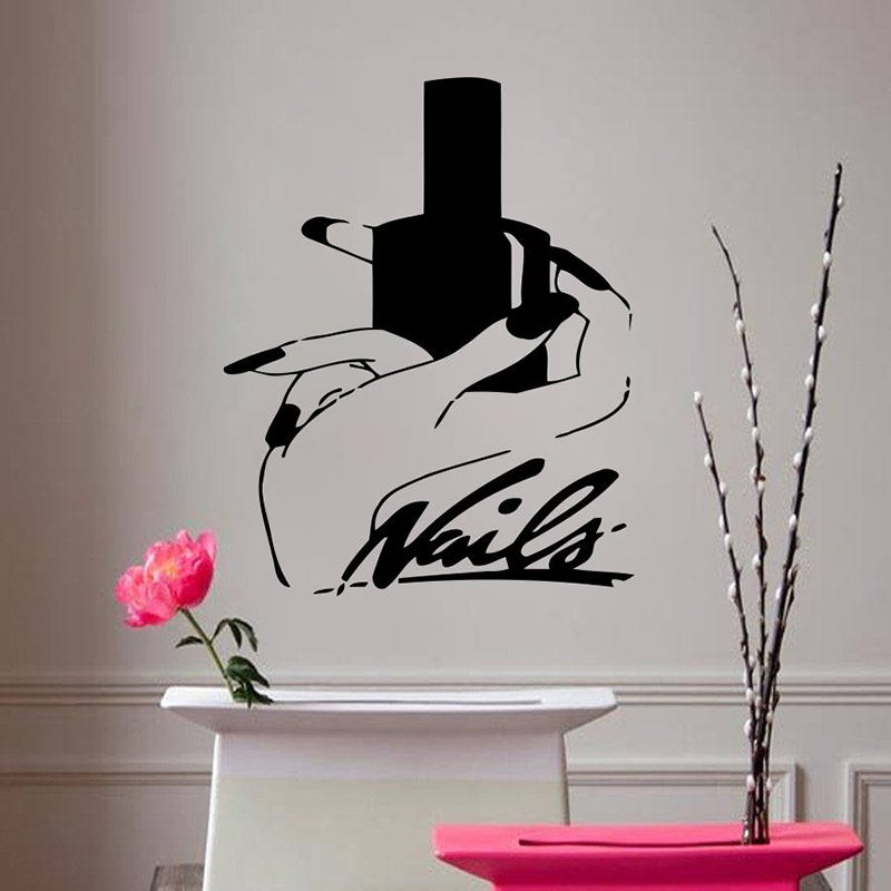 Personalized Custom Name Vinyl wall stickers Nail Stylist Pattern Removeable Wall Decal Livingroom Salon Wall Decor ZX285 ...