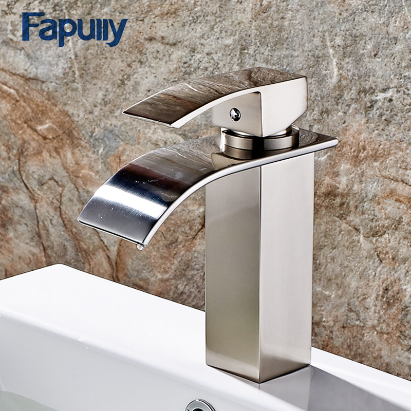 Permalink to 114-11N Basin Faucet Cold Hot Bathroom Faucet Brushed Nickel Bathroom Tub Waterfall Faucet Single Handles Mixer Tap