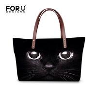 Black Cat Pattern Ladies Messenger Bag Women Top Handle Bags Female Large Tote Bag Hand Bags