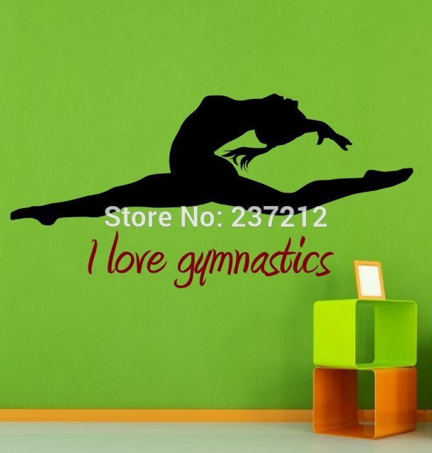 I love gymnastics, dance room gymnastics beautiful wall stickers decals. Free shipping