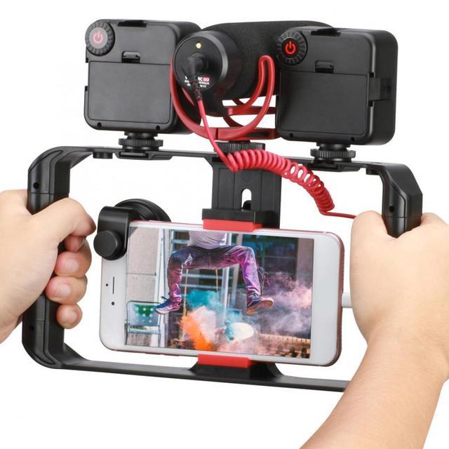 Ulanzi Smartphone וידאו Rig 3 חם נעל Mounts קולנוע מקרה מייצב מסגרת טלפון Stand מחזיק עבור Samsung iPhone Huawei