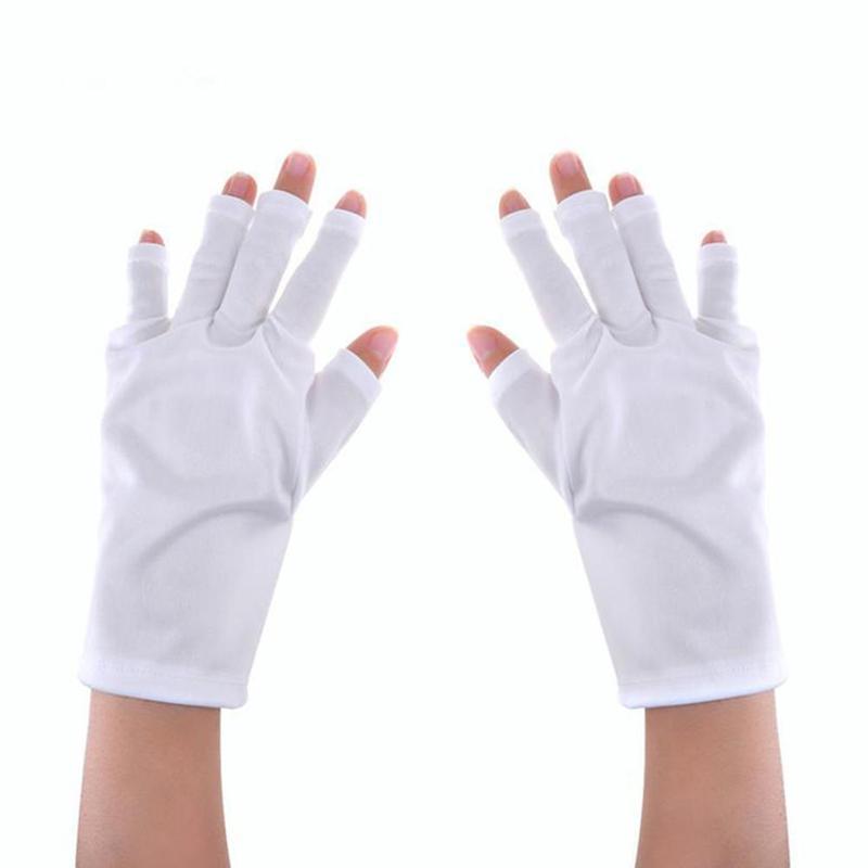 White Uv Protection Gloves Nail Tool Radiation Protection Phototherapy Nail Gloves Uv-glove Half Exposed Finger For Light Lamp