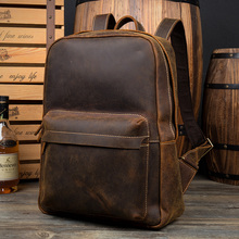 Men Backpacks 100% Genuine Leather Backpack Men's Brand Designer Crazy Horse Laptop Bag Fashion Casual Business School Bagpack