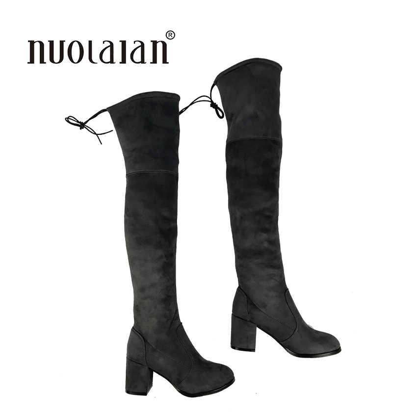 Las mujeres de alta del muslo botas sobre la rodilla de tacón alto botas de piel de advertir de invierno y otoño zapatos de mujer zapatos botas mujer femininas
