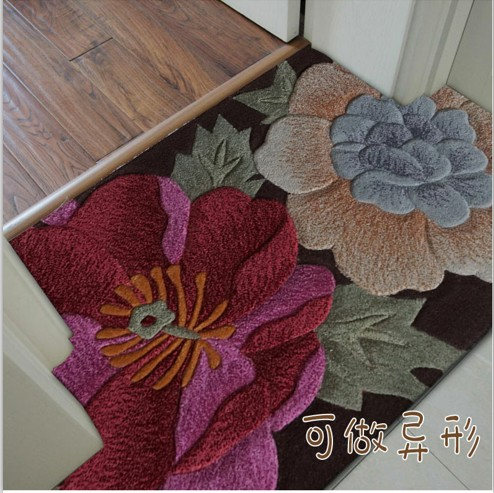 Flowers On Wool Carpets For Parlor Living Room Bedroom Large Size Classical Entrance Mat Rugs Decoration Floor Rug Floral Carpet