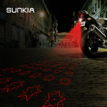 цена на SUNKIA Five-Pointed Star Anti Collision Rear-end Motorcycle Laser Fog Light Brake Parking Lamp Rearing Warning Light