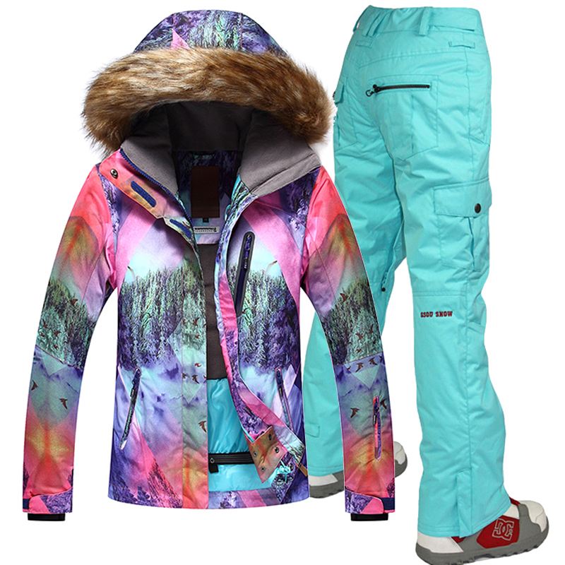 Gsou neige coupe-vent respirant Ski ensembles femmes imperméable Ski veste pantalon snowboard femme Ski costume Sport costumes 10 K