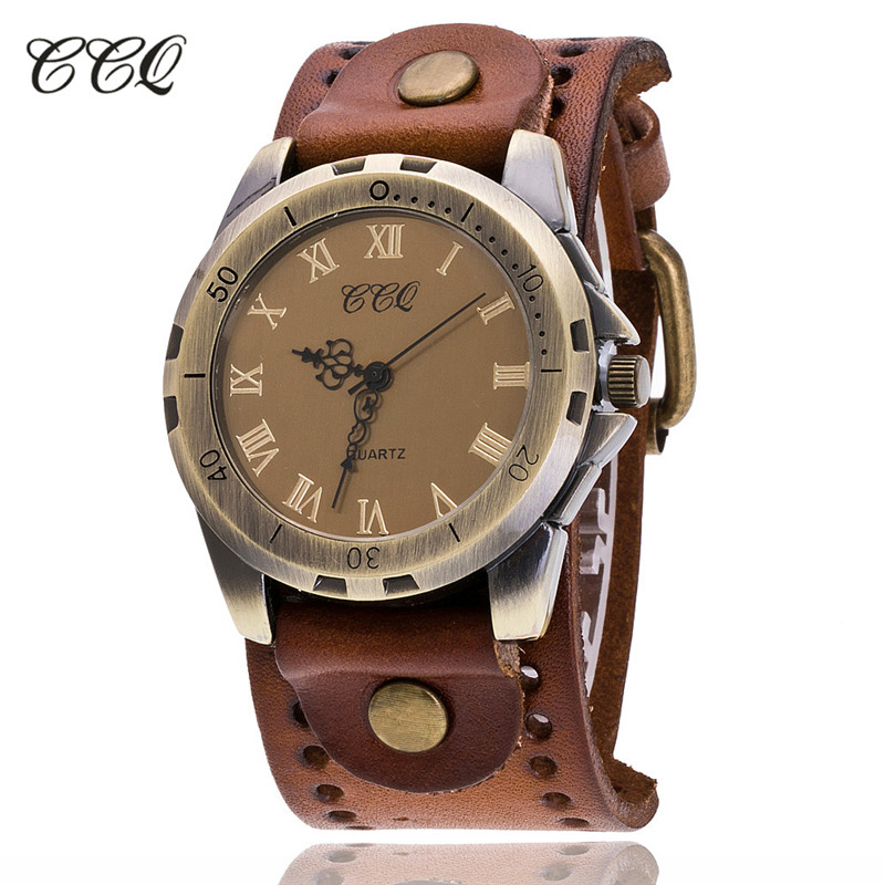 CCQ Brand Vintage Cow Leather Bracelet Men WristWatch Casual Luxury Roman Number Quartz Watch Relogio Masculino Clock Hours C20 gorben brand classical silver polishing quartz men pocket watch round roman number necklace relogio de bolso gift men watch