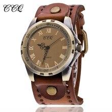 CCQ Brand Vintage Cow Leather Bracelet Men WristWatch Casual Luxury Roman Number Quartz Watch Relogio Masculino Clock Hours C20