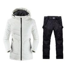 Женские зимние теплые спортивные костюмы для горных лыж, женская зимняя одежда, лыжная куртка, женские лыжные штаны, Длинные лыжные костюмы