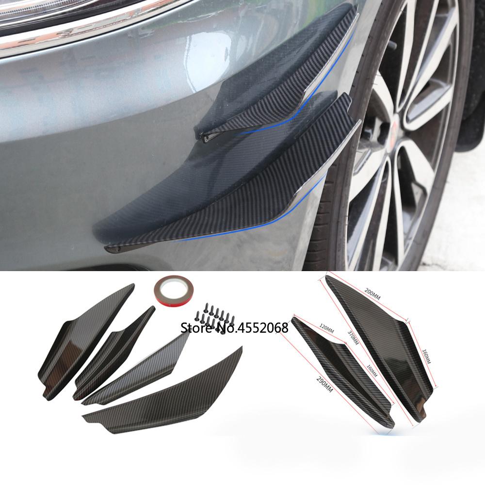 Details about  /4x Carbon Fiber Car Bumper Fin Canard Splitter Diffuser Valence Spoiler Lips