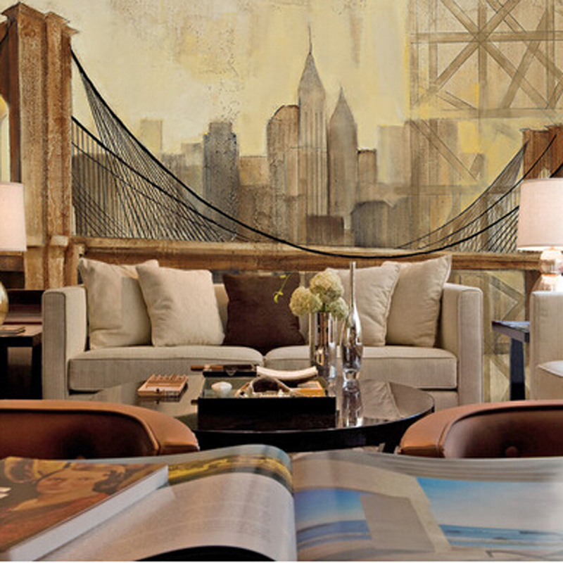 3D photo wallpaper European style retro wallpaper living room bedroom sofa wallpaper wall painting large mural free shipping 3d european style street night wall painting cafe hotel restaurant bedroom sofa backdrop wallpaper mural