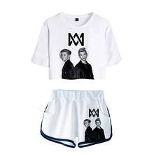 KELUOXIN Marcus Martinus Two Piece Set Women Sexy Navel Crop Top + Shorts Outfits Set Marcus Martinus Tracksuit Women Suit(China)