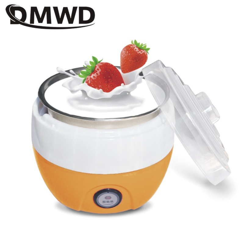 DMWD Electric Yogurt Maker Yoghurt DIY Tool Kitchen Appliances Automatic Liner Material Stainless Steel Yogurt Maker 1L EU US