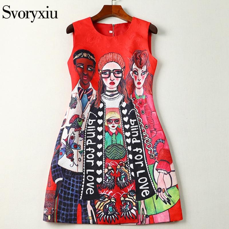 Svoryxiu 2019 Créateur De Mode D'été Sans Manches robe courte de Femmes de Bande Dessinée Caractère lettre Imprimer Jacquard Rouge Mini Robe