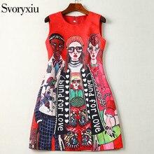Svoryxiu 2019 Fashion Designer Summer Sleeveless Short Dress Women's Cartoon Character letter Print Jacquard Red Mini Dress
