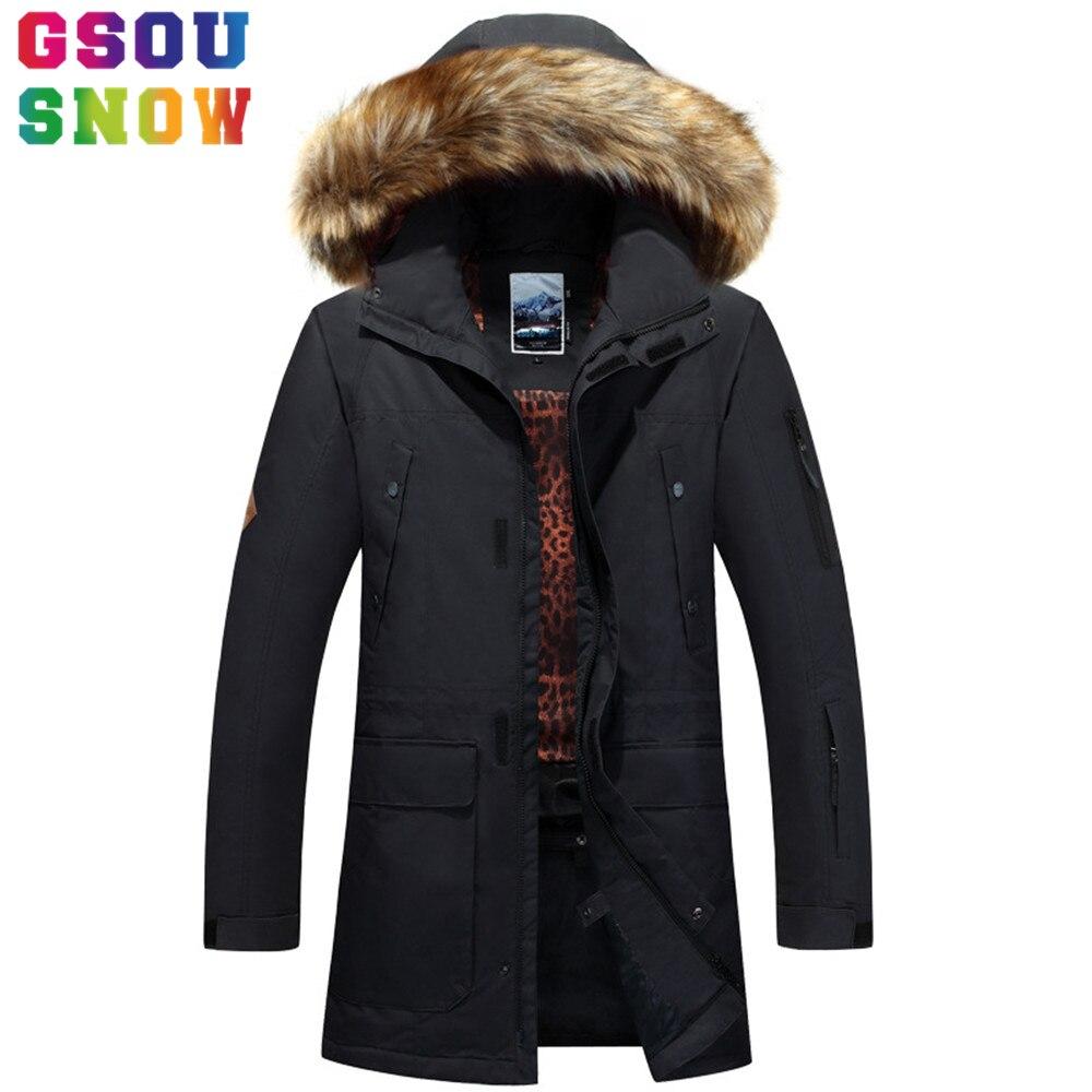 Gsou snow nieve nueva chaqueta de los hombres negro de piel súper caliente Chaqu