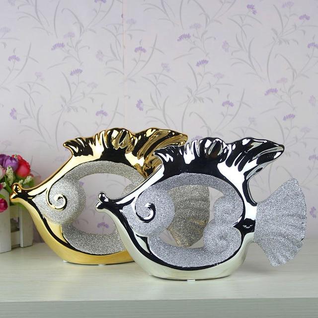 Fashion electroplated ceramic home decoration crafts modern desk furnishings decoration fish