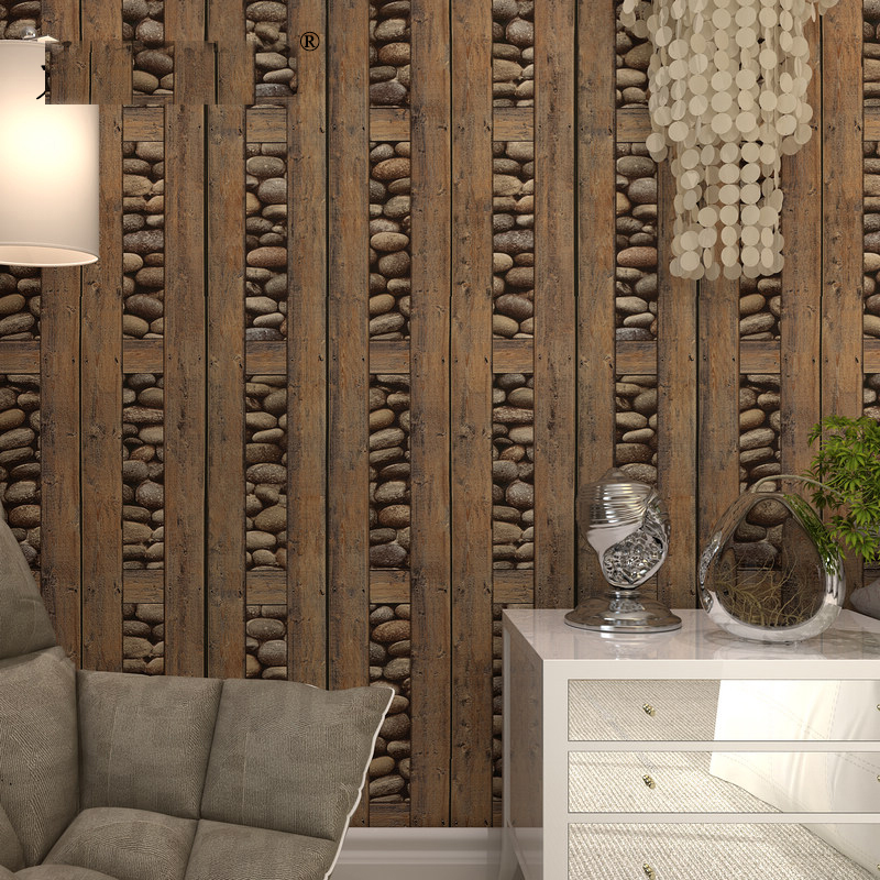 American Vintage Style Wood Grain&Stone Stripe Vinyl 3d Wallpaper Rolls for TV Background Bar Office wall paper Wallcoverings акриловые обои hits wallcoverings vintage luxury sz001534