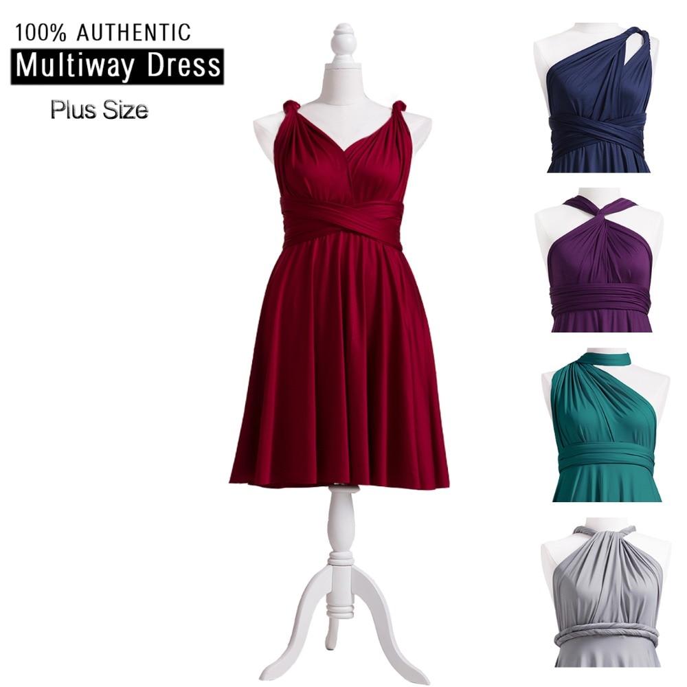 Burgundy   Bridesmaid     Dress   Infinity Plus Short   Dress   Multi Way Knee Length   Dress   Twist Wrap   Dress   With Straps Style