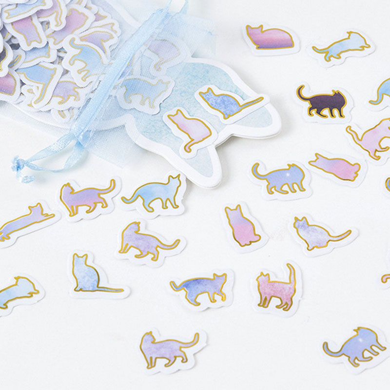 100 pcs/bag Organza bag Cute cat pvc sticker decoration diy scrapbooking Gift bag sealing sticker children's favorite stationery