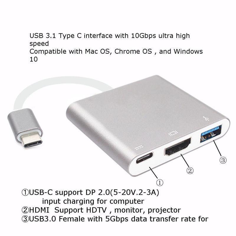 USB Type C to HDMI Adapter 4K - Newforshop USB 3.1 Type C Multiport - Ανταλλακτικά και αξεσουάρ κινητών τηλεφώνων - Φωτογραφία 5