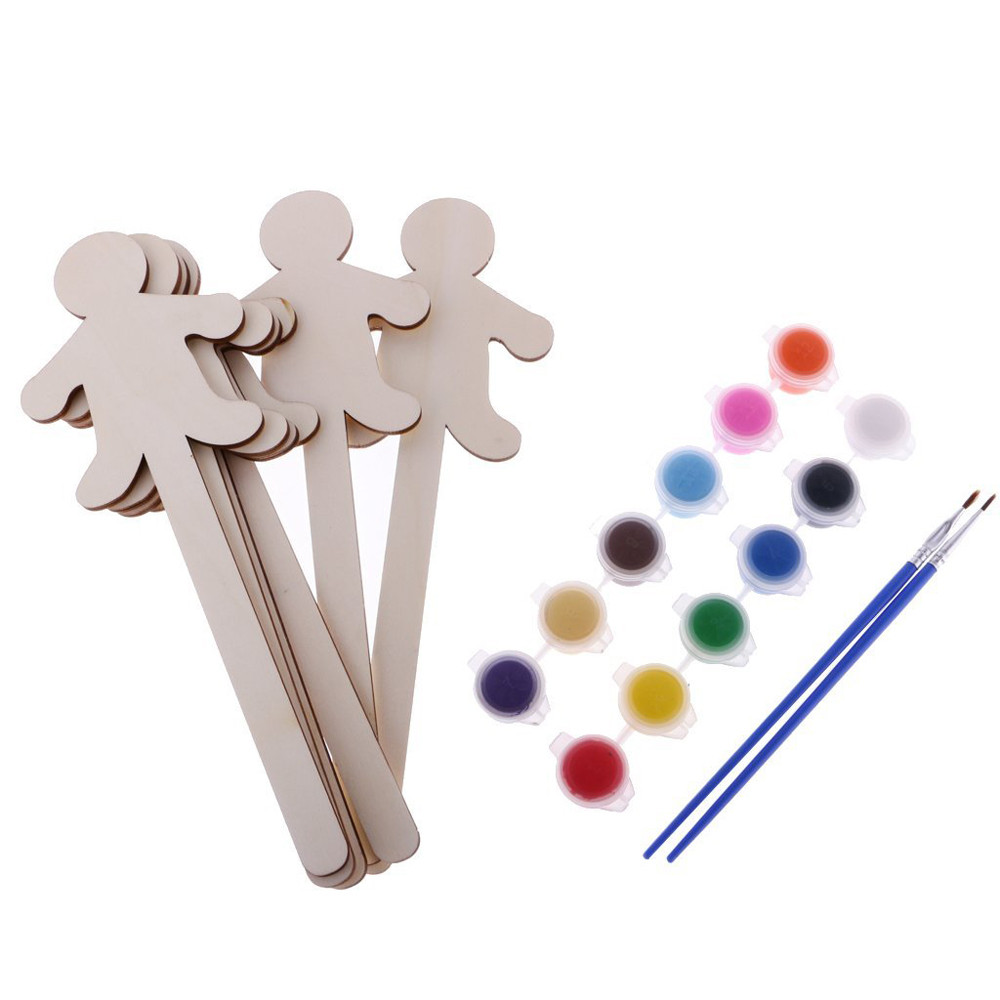 6pcs Cute Blank Wooden Sticks Popsicle Dolls Cake Topper Kids Painting Craft