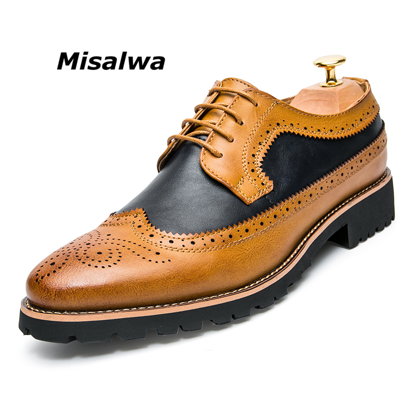 Misalwa Male Brown Natural Leather Formale Shoes Yellow Dress Brogue Derby Oxfords Wedding Business Office Shoes аксессуар заспинный колчан bowmaster tento ref yellow brown 277