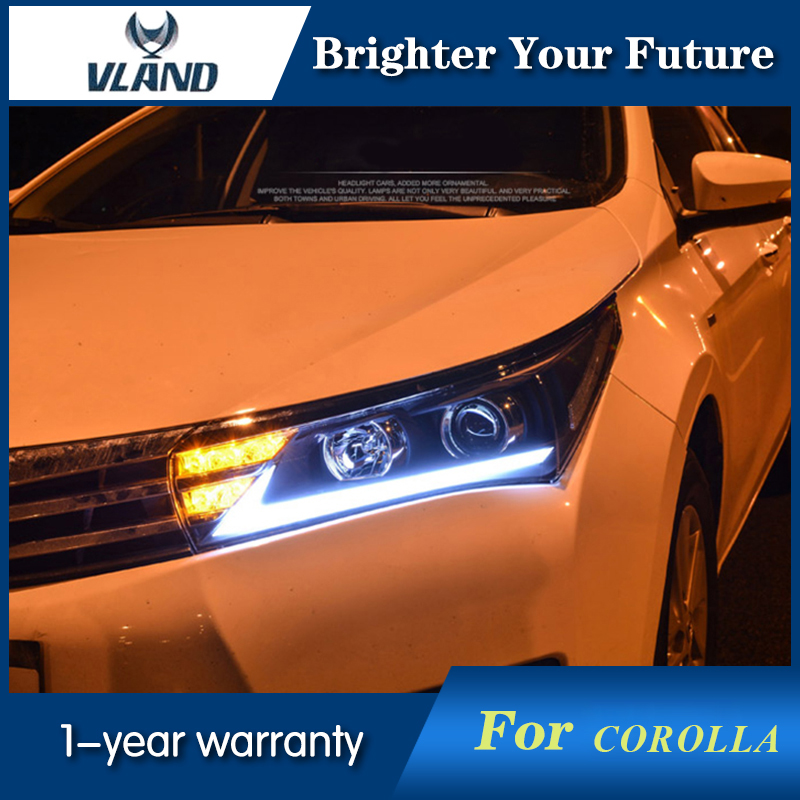 Vland Car Styling Headlight  For Toyota Corolla 2014 2015 With LED Light Pipe DRL+HID Xenon Headlights Retrofit car styling car body trims for toyota corolla 2013 2014 2015 2016 2017 2018 e170