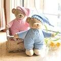 Розовый и голубой мягкие мишки плюшевые игрушки чучело куклы медведь с шляпа подарок детям бесплатная доставка