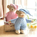 Pink & Blue Soft Bears Plush Toy Stuffed Animal Dolls Bear With Hat Children Gift Free Shipping