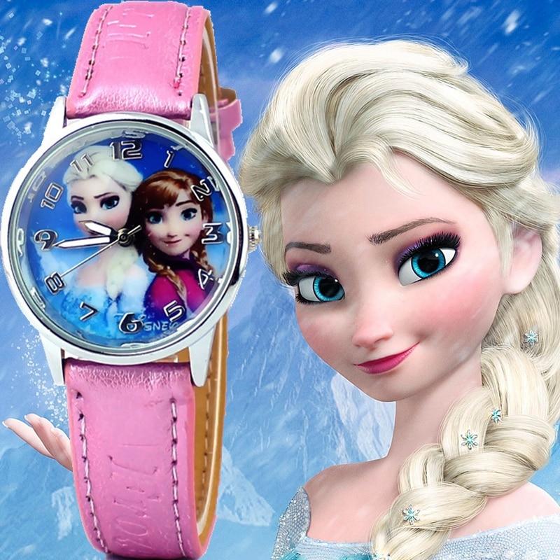 New Princess Elsa Anna Children Kids Cartoon Watch Snow Queen Leather Quartz Watches Fashion Girl Student Wrist Watches Clock