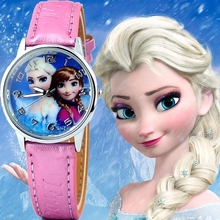 New Princess Elsa Anna Children Kids Cartoon Watch Snow Queen Leather Quartz
